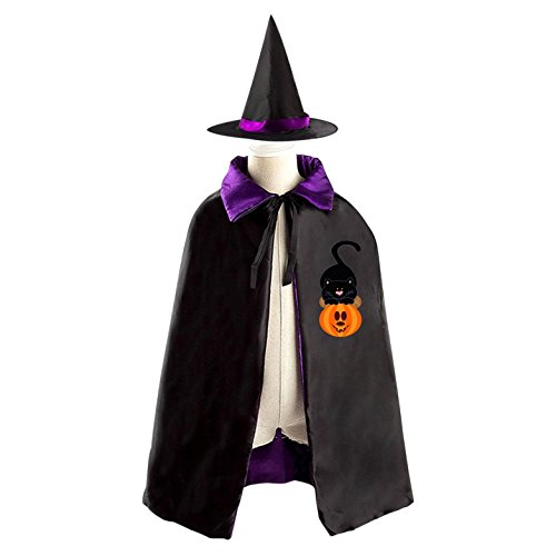 Black cat Witch Cloak Reversible Cosplay Costume Satin Cape Boys Girls Red (Easy Homemade Devil Costume)