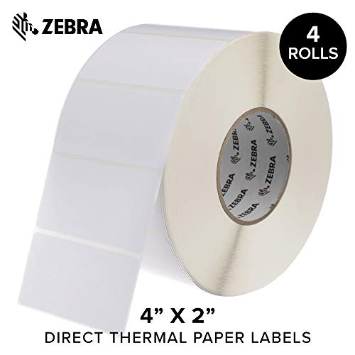(Zebra - 4 x 2 in Direct Thermal Paper Labels, Z-Perform 2000D Permanent Adhesive Shipping Labels, Zebra Industrial Printer Compatible, 3 in Core - 4 Rolls)