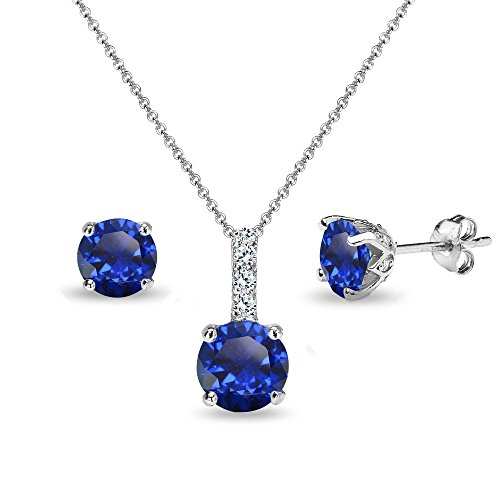 Sapphire Round Solitaire (Sterling Silver Created Blue Sapphire & White Topaz Round Crown Stud Earrings & Necklace Set)