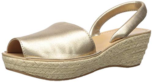 Kenneth Cole REACTION Women's Fine Glass Espadrille Platform Slingback Sandal Wedge, Soft Gold, 9.5 M US ()