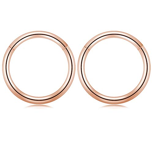 - GAGABODY 18G Captive Bead Ring Clicker Segment Hoop Nose Ring 10mm 3/8Inch Septum Ring Unisex Hoop Earrings Easy Use Body Piercing Rose Gold