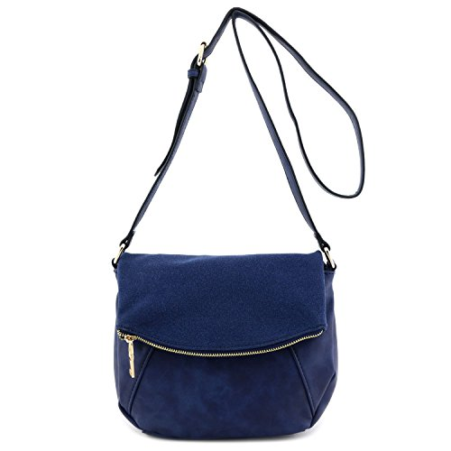 Faux Calfskin Leather Crossbody Bag with Suede Flap Navy