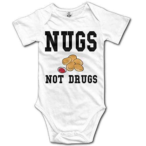 Wieke Nugs Not Drugs Newborn Babys Boy's & Girl's Short Sleeve Jumpsuit Outfits for 0-24 Months White -
