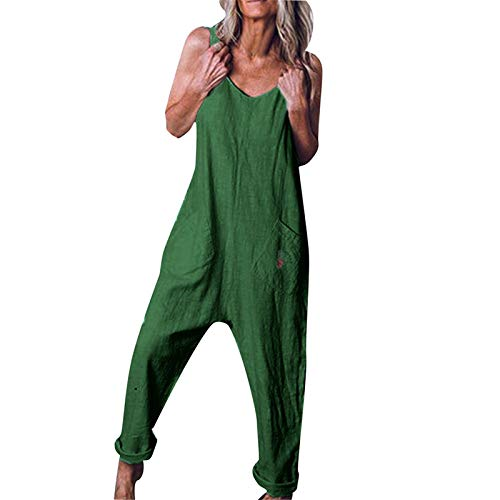 Thenxin Women Casual Overalls Plus Size Baggy Bib Pants Jumpsuit Wide Leg Dungarees Rompers(Green,XXXL)