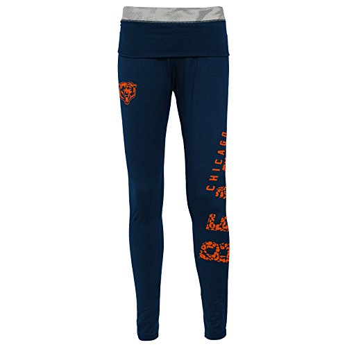 Outerstuff NFL Junior Girls Elastic Heart Legging, Chicago Bears, Dark Navy, -