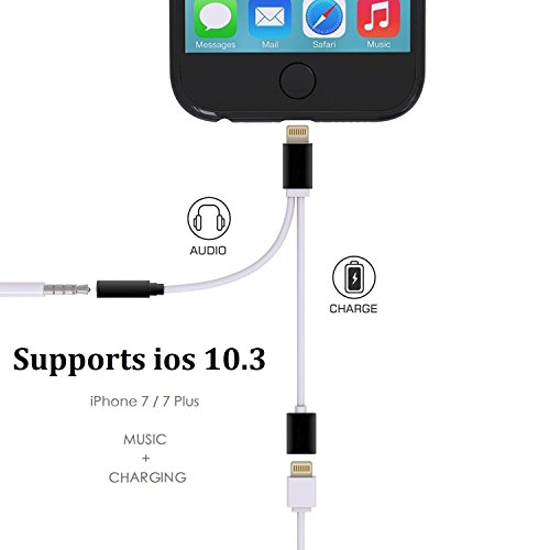 [Upgraded] 2 in 1 Lightning Audio Charge Adapter, for iPhone 7/7 Plus [iOS 10.3 and Above Compatible] Lightning to 3.5mm Aux Headphone Jack Audio & Charger [No Phone Call & ()