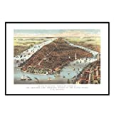 New York 1883 Historical Print Mounted Framed Wall Map Frame Color: Black