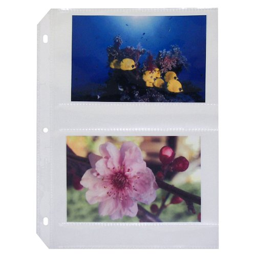 C-Line Ring Binder Photo Storage Pages for 4 x 6 Inch Photos, Side Load, 4 Photos/Page, 50 Pages per Box (52564)