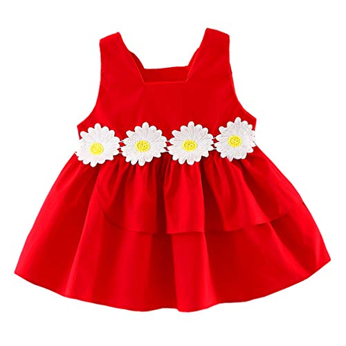 Baby Girls Sleeveless Princess Flower Dress (Red, 12 Months(Tag 8))