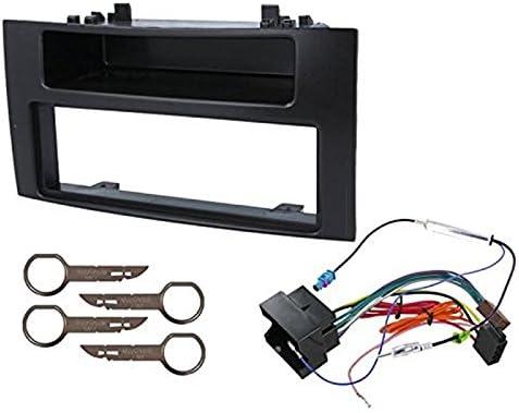 Sound Way 1 Din Autoradio Radioblende Radiorahmen Iso Verbindungskabel Antennenadapter Schlüssel Kompatibel Mit Vw Volkswagen T5 Multivan Touareg Transporter Navigation
