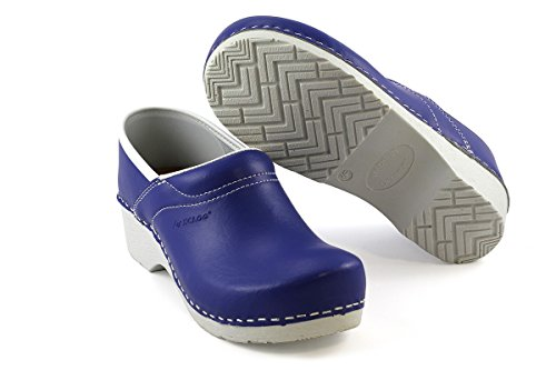 Original DanClogs Clogs aus Dänemark in blau / weiß aus Echt Leder