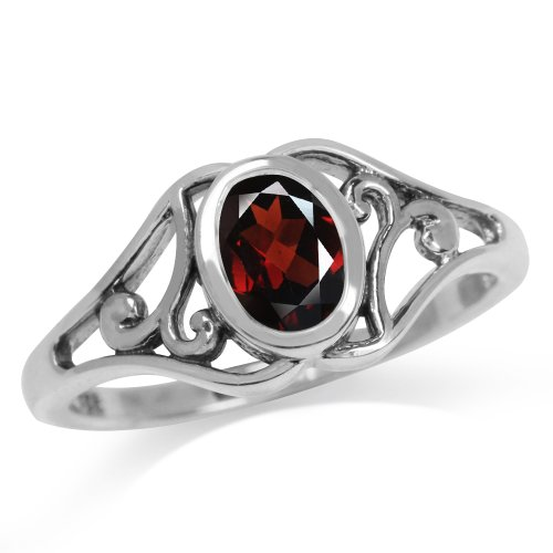 Natural January Birthstone Garnet 925 Sterling Silver Filigree Solitaire Ring Size 8 ()