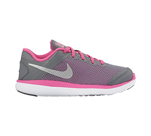 Nike Boy 's flex 2016RN Athletic Shoe Gris/Negro/Rosa/Plateado metálico (COOL GREY/BLACK/PINK BLAST/METALLIC SILVER)
