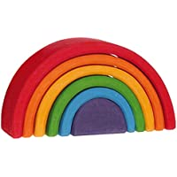 """Grimm's Small (Mini) 6-Piece Rainbow Nesting Wooden Blocks Stacker, """"Elements"""" of Nature: AIR"""