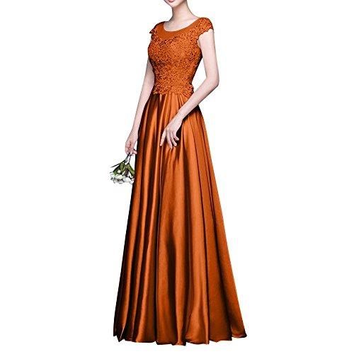 Abschlussballkleider Spitze La Kurzarm 2018 Brautmutterkleider Partykleider Orange Lang Abendkleider Dunkel mia Brau Promkleider qTwx8fT