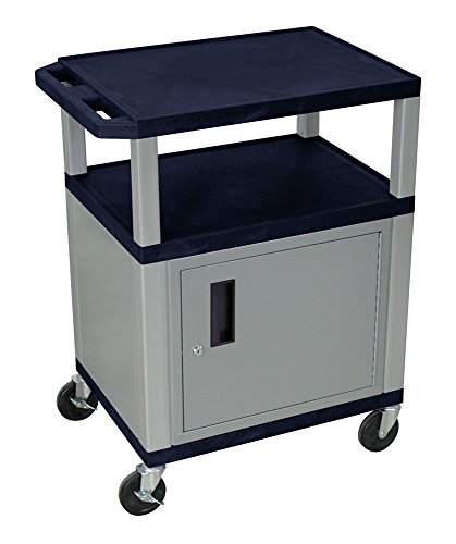Luxor WT34ZC4E-N 34'' AV Utility Cart with 3 Shelf and Cabinet - Nickel Legs by Luxor