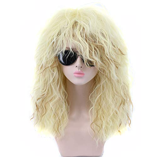 Yuehong 70s 80s Costumes For Women Girl's Long Curly White Movie Cosplay Wig Halloween Hair Wigs