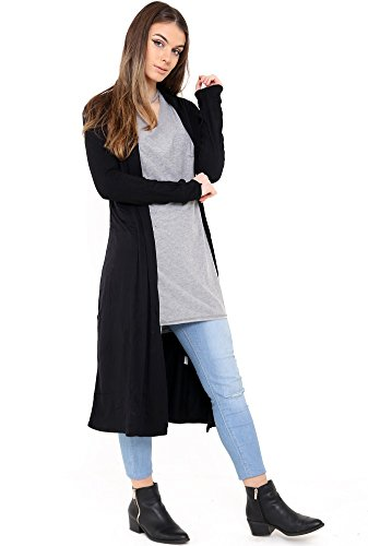 Lightweight Cardigan Women Black s The Open Sleeve Trend Ladies Long Duster Plain Coat Colour Jersey Long Get Front TvCPwx