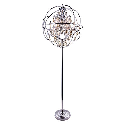 Elegant Lighting Geneva Collection 6-Light Floor Lamp with Royal Cut Crystals, Polished Nickel Finish