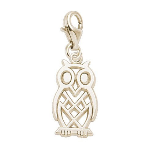 Rembrandt Owl Bird Charm - Rembrandt Charms Owl Charm with Lobster Clasp, 14k Yellow Gold