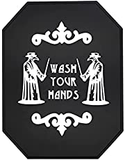 Gothic Bathroom Decor Horror Signs - Wash Your Hands Wall Goth Decor for Kitchen Guest Bathroom - Solid Wood Made 12'' x 9'' x 1''