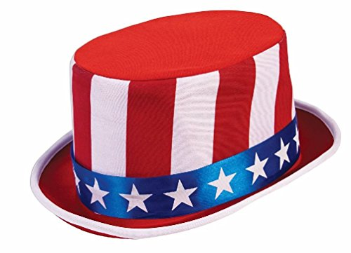 Mini Top Hat With Mistletoe (Red White & Blue Stars Stripes Top Hat Patriotic Costume Accessory 4th of July)