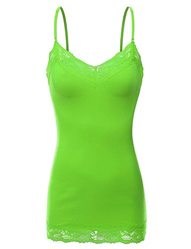RT1004 Ladies Adjustable Spaghetti Strap Lace Trim Long Tunic Cami Tank Top Citrus S ()