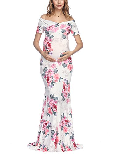 VSNOW Women's Off Shoulder V Neck Short Sleeve Floral Maternity Slim Fit Gown Maxi Photography Dress by VSNOW (Image #5)