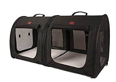 """One for Pets Fabric Portable 2-in-1 Double Pet Kennel / Shelter, Black 20""""x20""""x39"""" - Car Seat-belt Fixture Included"""