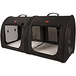"One for Pets Portable 2-in-1 Double Pet Kennel/Shelter, Fabric, Black 20""x20""x39"" - Car Seat-Belt Fixture Included"