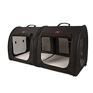 "One for Pets Fabric Portable 2-in-1 Double Pet Kennel/Shelter, Black 20""x20""x39"" - Car Seat-belt Fixture Included 56"