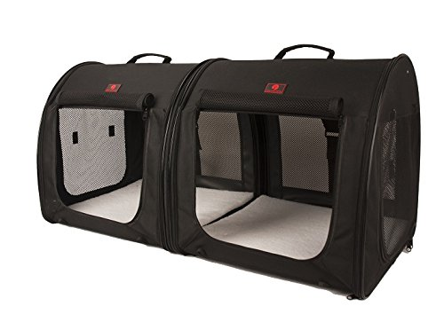 (One for Pets Fabric Portable 2-in-1 Double Pet Kennel/Shelter, Black 20
