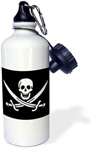 Botella de agua deportiva de regalo, Sven Herkenrath calavera negro y blanco pirata de calavera blanco acero inoxidable botella de agua para mujeres y hombres 53,34 ml