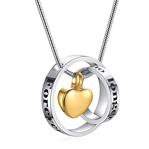 SL Personalized Forever in My Heart Stainless Steel Two Circle Rings Heart Urn Cremation Necklace Charm for Human Pet Ashes Memorial Name Keepsake Locket Pendant for Wife,Husband,Free Engraving - Engravable Circle Charm Pendant