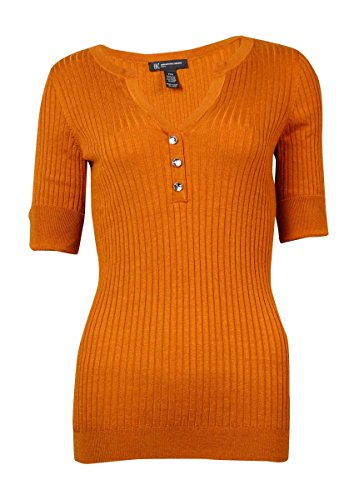International Concepts Ribbed Knit Split Neck Sweater 0x Orange
