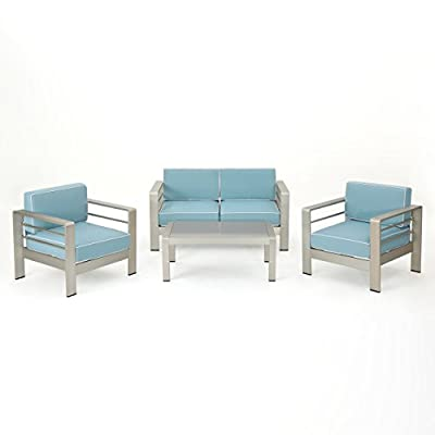 Christopher Knight Home 303234 Crested Outdoor 4 Piece Chat Set with Cushions, Light Teal + White + Silver - Includes: One (1) Loveseat, Two (2) Club Chairs, and One (1) Coffee Table Material: Aluminum. Cushion Material: Water Resistant Fabric. Fabric Composition: 100% Polyester. Finish: Silver. Cushion Color: Light Teal with White Cording. Assembly Required. Hand Crafted Details. - patio-furniture, patio, conversation-sets - 41GJ x3tFfL. SS400  -