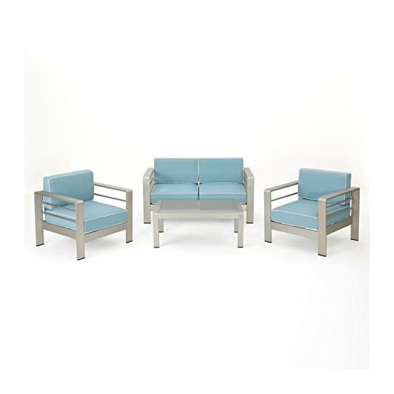 Christopher Knight Home Crested Bay Outdoor 4 Piece Silver Aluminum Framed Chat Set with Light Teal and White Corded Water Resistant Cushions - This loveseat set perfectly exudes a modern feel to any outdoor living space. With its unique and eye-catching design this set offers taste and functionality to your outdoor space. The combination of natural and industrial looking elements compliments any style of décor and the aluminum and waterproof cushions make this set an immediate statement. Includes: One (1) Loveseat, Two (2) Club Chairs, and One (1) Coffee Table Material: Aluminum Cushion Material: Water Resistant Fabric Fabric Composition: 100% Polyester Finish: Silver Cushion Color: Light Teal with White Cording Hand Crafted Details - patio-furniture, patio, conversation-sets - 41GJ x3tFfL. SS570  -