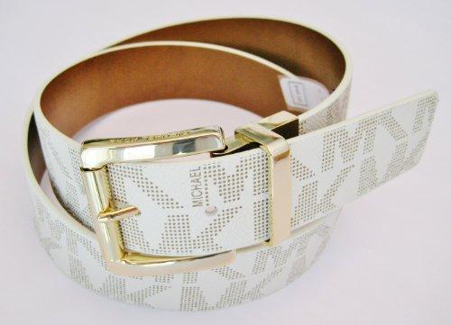 Michael Kors Mk Signature Monogram Logo Gold Buckle Vanilla White /Brown Size X- Large