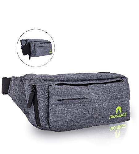 Frog Bagz - Large Fanny Pack with Waterproof Polyester and Zippers, Designed for Men and Women, Adjustable Strap 20 to 52 Waist Size - Large Capacity with 4 Compartments and iPhone Access Pocket
