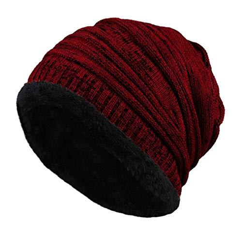 Winter Warm Ski Hat Laimeng_World Unisex Knit Cap Hedging Head Hat Beanie Cap Outdoor Hat (Wine red)