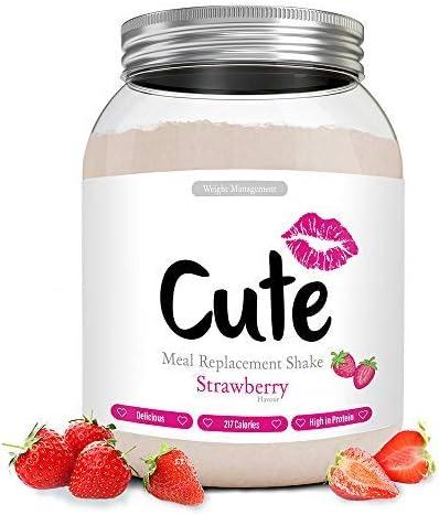 Cute Nutrition Batido Sustitutivo de Comida Sabor Fresa para el Control de la Pérdida de Peso en Polvo Bebida Dietética para Mujer Bote de 500 g