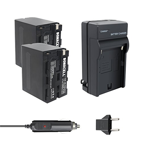 Bonacell 8700mAh 2 Pack Replacement Sony NP-F960/ NP-F970 Battery and Charger Kit for Sony DCR-VX2100 HDR-AX2000 FX1 FX7 FX1000 HVR-HD1000U V1U Z1P Z1U Z5U Z7U HXR-MC2000U FS700U and LED Video Light ()