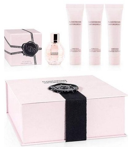 Viktor & Rolf Flowerbomb Mini Gift Set – (Eau de Parfum, Body Lotion, Body Cream, Shower Gel and Vial) – (5 Pieces)