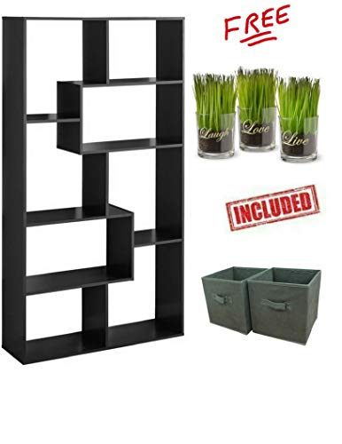 Mainstay` 8-Shelf Home Cube Bookcases in Brown Finish with Set of 2 Storage Bins INCLUDED!