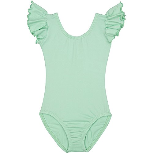 (Toddler and Girls Leotard for Dance, Gymnastics and Ballet with Flutter Ruffle Short Sleeve Mint Green M)