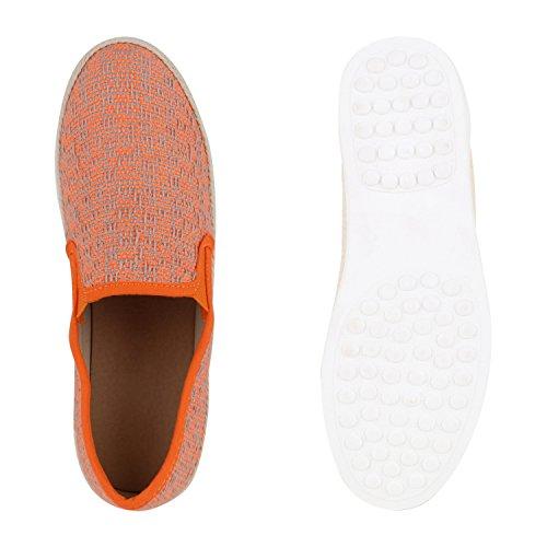 Stiefelparadies Damen Bast Sneakers Lack Slipper Bequeme Slip-Ons Helle Sohle Flandell Neonorange