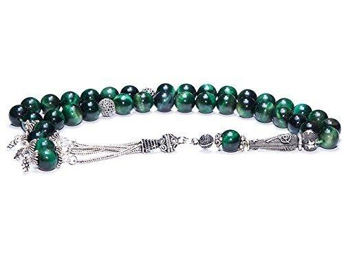 Islamic Prayer Beads made of 10 mm Green Tiger Eye Gemstone and Sterling Silver