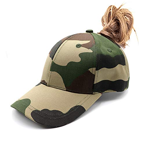 Womens Camo Ponytail Baseball Hat Messy High Buns Ponycap Plain Unconstructed Cotton Dad Hat Adjustable Cap Hat for Girls ()