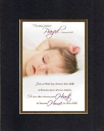 For Baby Dedication - For this child I Prayed 8 x 10 Inches Biblical/Religious Verses set in Double Beveled Matting (Black on Gold) - A Timeless and Priceless Poetry Keepsake Collection