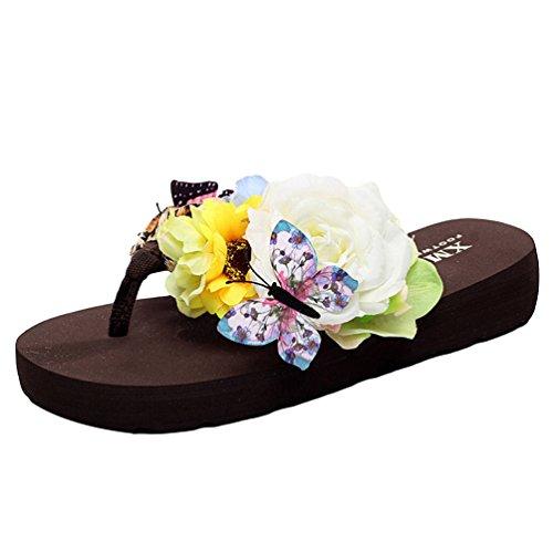 YOUJIA Mujeres Boho Flores Chanclas Verano Playa Zapatos de cuña Plataforma Zapatillas #1 Leopardo